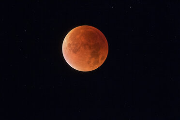 Total lunar eclipse with stars in background, blood moon - THGF00047