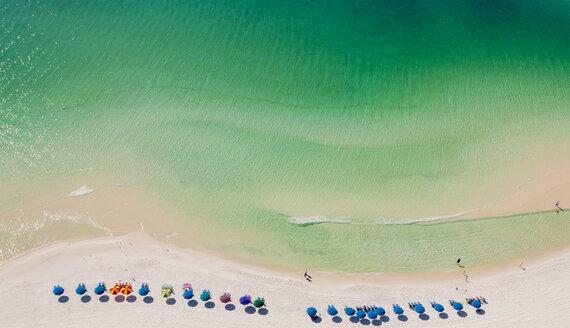 Beach umbrellas on beach, Destin, Florida, USA - ISF18374