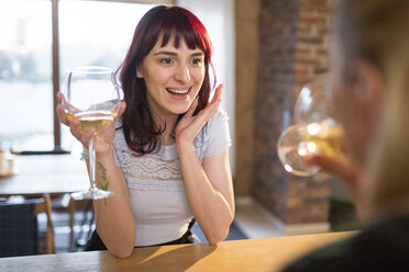 Happy female friends at home drinking white wine - AWF00150