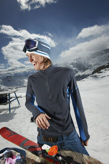 Portrait of male skier on mountain - ISF18530