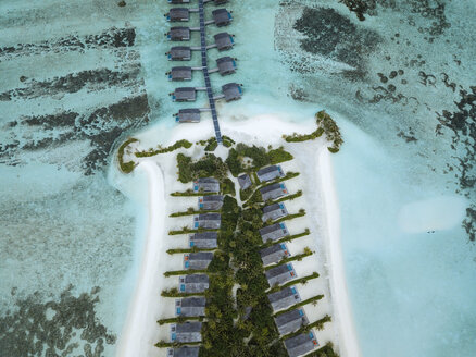Maldives, Aerial view of water bungalows - KNTF01156
