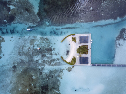 Maldives, Aerial view of bungalows - KNTF01159