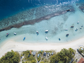 Maldives, Aerial view of beach and boats - KNTF01162