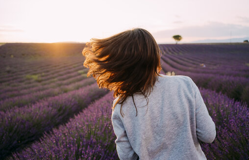 France, Valensole, back view of woman tossing her hair in front of lavender field at sunset - GEMF02226