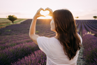 France, Valensole, back view of woman shaping heart with her hands in front of lavender field at sunset - GEMF02229