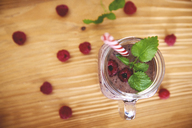Glass of raspberry smoothie, top view - ABIF00798