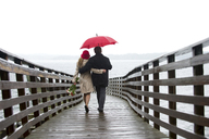 Couple walking on wooden pier in rain - ISF18995
