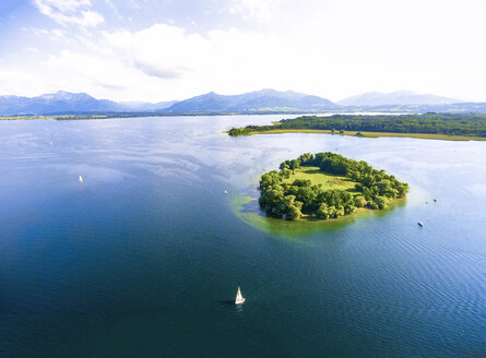 Germany, Bavaria, Chiemsee, Aerial view of Krautinsel island - MMAF00452