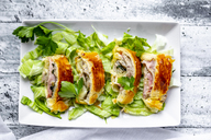 Swiss roll, puff pastry with sausage meat, cheese, onion, parsley and salad on plate - SARF03864