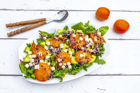 Green salad with fried apricots, avocado, feta cheese and radish sprouts - SARF03870