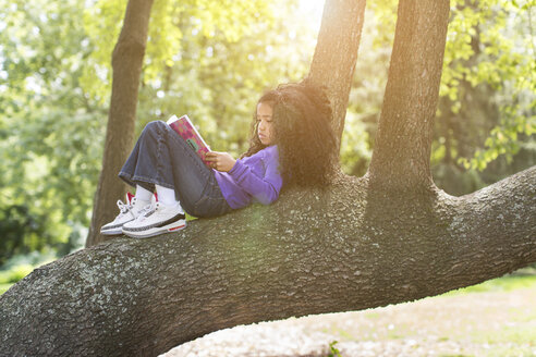 Young girl lying on tree branch reading book - ISF19548