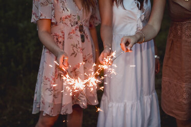 Friends having a picnic in a vinyard, burning sparklers - MAUF01651