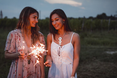 Friends having a picnic in a vinyard, burning sparklers - MAUF01654