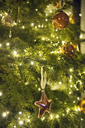 Christmas decorations. A traditional real Christmas tree, decorated with lights. - MINF03617