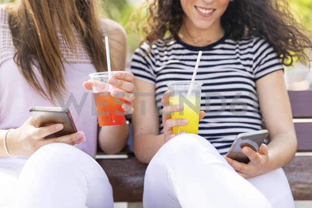 Close-up of two female friends sitting on a bench with slush and cell phones - WPEF00766