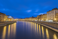 Italy, Pisa, Old town, Arno river at blue hour - RPSF00229