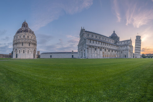 Italy, Tuscany, view of Pisa Baptistery, Pisa Cathedral and Leaning Tower of Pisa at Piazza dei Miracoli at sunset - RPSF00232