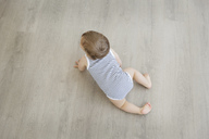High angle view of baby boy wearing striped onesie crawling across hardwood floor. - MINF04253