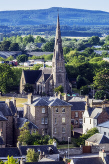 United Kingdom, Scotland, Invergordon, cityview with church - THAF02218