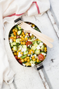 Lunch box of salad with chick peas roasted with curcuma, feta, cucumber, tomatoes and parsley - LVF07372