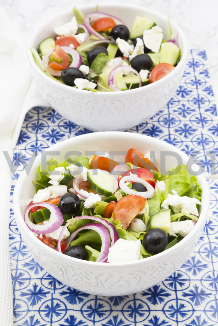 Two bowls of Greek salad - LVF07375