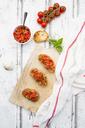 Bruschetta with tomato, basil, garlic and white breah - LVF07378