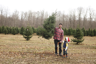Young boy and man holding saw and Christmas tree standing outdoors near a forest. - MINF05280