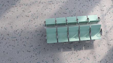 3D rendering, Green row of seats on structured floor - UWF01408
