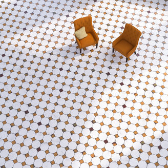 3D rendering, Two chairs on tiled floor - UWF01411