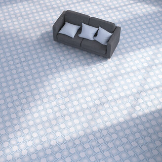 3D rendering, Couch with cushions on patterned floor - UWF01420
