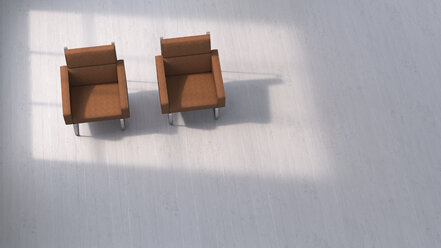 3D rendering, Two chairs on concrete floor - UWF01432