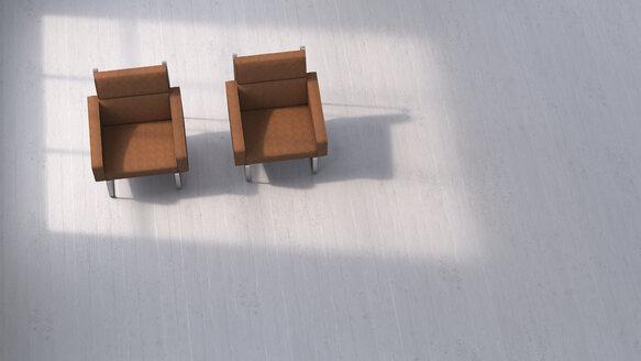 3D rendering, Two chairs on concrete floor - UWF01432