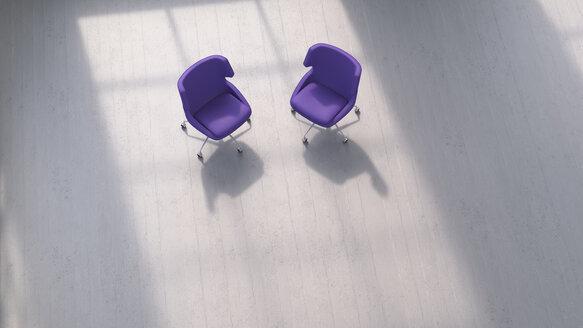 3D rendering, Two chairs on concrete floor - UWF01435