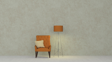 3D rendering, Yellow armchair and floor lamp against marbled wall - UWF01438