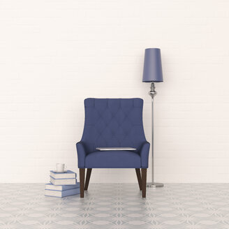 3D rendering, Blue armchair and floor lamp with stack of books - UWF01447