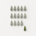 3D rendering, Rows of fir trees on white background, with one green one, standing out - UWF01468