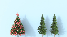 3D rendering, Christmas tree with fir trees on blue background - UWF01474