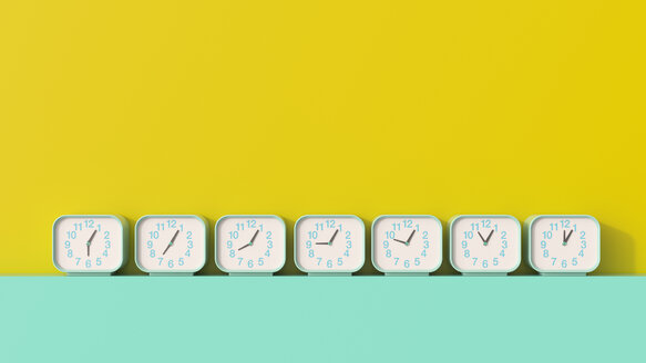 3D rendering, Row of alarm clocks, showing different times - UWF01480