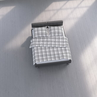 3D rendering, Bed with chequered bedding on concrete floor - UWF01501
