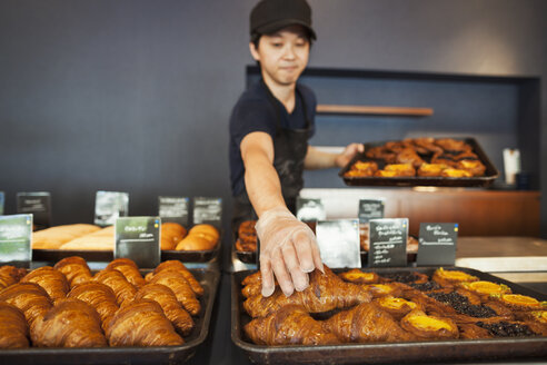 Man working in a bakery, placing freshly baked croissants on large trays. - MINF05925