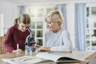 Mother and daughter using microscope at home - RORF01387
