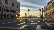View across St Mark's Square, Venice, Italy, at sunrise. - MINF06496