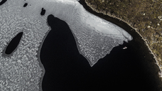 Aerial view of ice floe in Lofoten Islands, Norway. - MINF06649