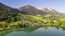 Austria, Tyrol, Kaiserwinkl, Aerial view of lake Walchsee - AIF00542