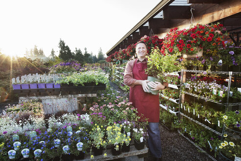 Caucasian man nursery owner standing with plants for sale at the nursery. - MINF06918