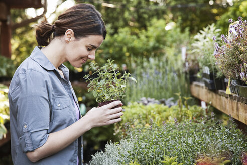 Caucasian woman holding a small plant, an aromatic herb and smelling it, shopping at a garden centre nursery. - MINF06921
