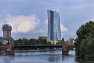 Germany, Frankfurt, view to European Central Bank with Old Bridge over Main River in the foreground - TCF05562