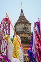 Thailand, Chiang Mai, Decorations to celebrate the New Year at the Wat Lok Moli Buddhist temple - GEMF02264