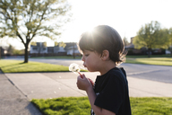 Boy with brown hair standing outdoors on a pavement, holding dandelion, blowing on spores. - MINF08023