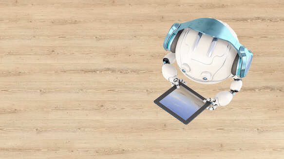 3D rendering, Little drone with headphones using digital tablet - AHUF00511